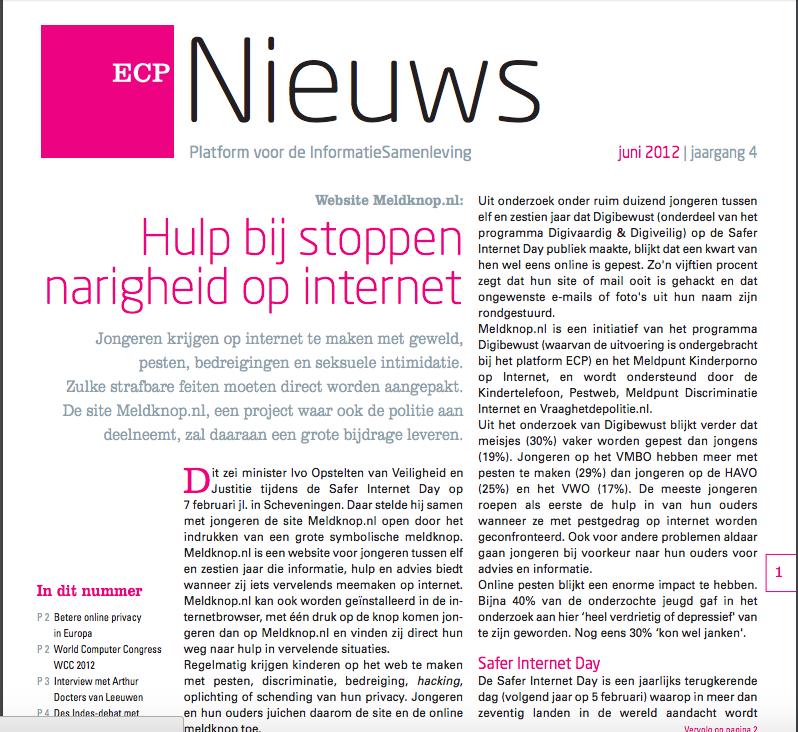 ECP nieuwsbrief juni 2012