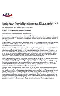 Speech: dr. A. Rinnooy Kan - ICT als motor van de economische groei - CIO Day 14 november 2006