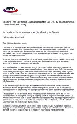 Speech: Prof. Dr. Mr. F. Bolkestein - Innovatie en de kenniseconomie, globalisering en Europa - Eindejaarssociëteit ECP.NL 17 december 2008