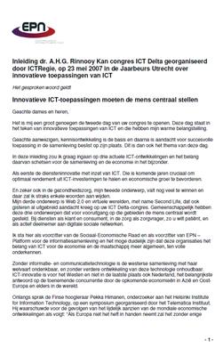 Speech: dr. A. Rinnooy Kan - Innovatieve ICT-toepassingen moeten de mens centraal stellen - Congres ICT Delta 23 mei 2007
