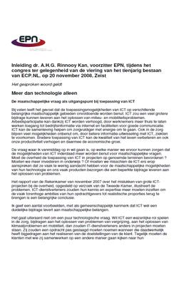 Speech: dr. A. Rinnooy Kan - Meer dan technologie alleen - Jaarcongres ECP.NL 20 november 2008