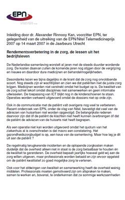 Speech: dr. A. Rinnooy Kan - Rendementsverbetering in de zorg, lessen uit het bedrijfsleven - Telemedicinprijs 14 maart 2007