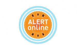 Logo Alert Online, met oranje en blauwe cirkels