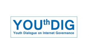 Logo in blauw met tekst Youthdig